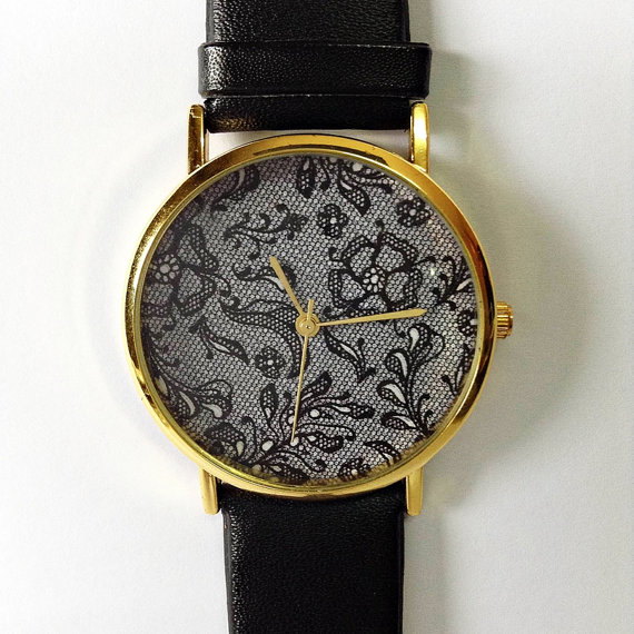 Vintage Lace Floral Watch  Vintage Style Leather by FreeForme