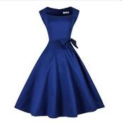 dress,vintage dress,bows,royal blue dress,50s style,midi dress