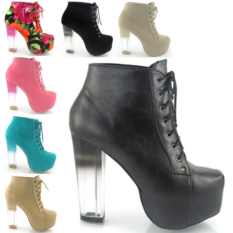 NEW WOMENS CLEAR HEEL ANKLE BOOTS LADIES CONCEALED PLATFORM HEEL SHOES SIZE | eBay