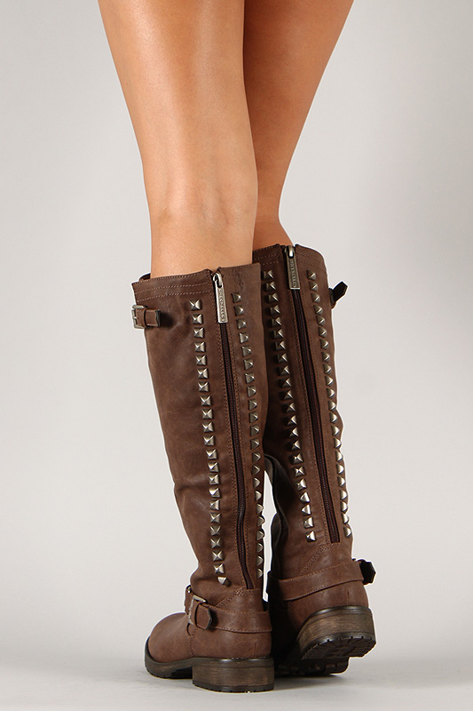 Trooper-14 Studded Buckle Riding Knee High Boot