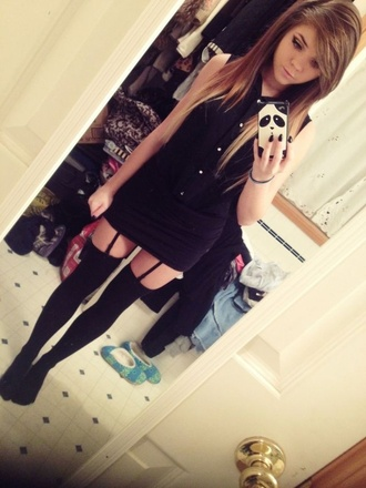 dress little black dress black cute garter thigh highs underwear