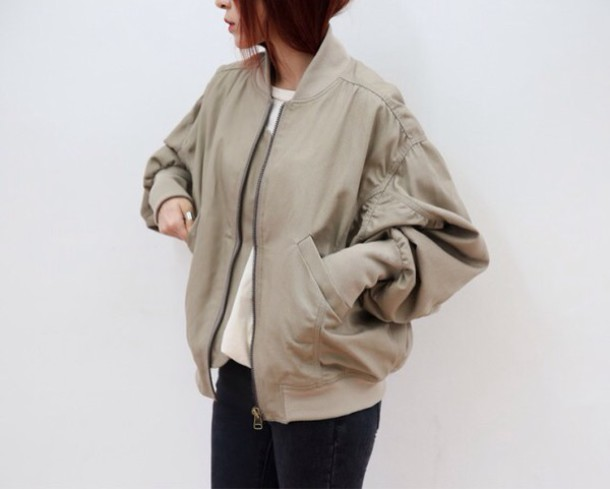 Jacket: fashion, tumblr, style, urban, bomber jacket, beige jacket ...