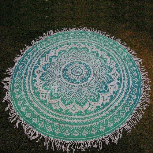 Ombre Round Mandala Tassle Fringe Roundie Yoga Mat tapestry