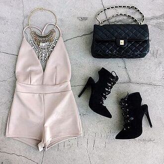 romper necklace clutch purse heels booties date outfit tan nude plunging gojane