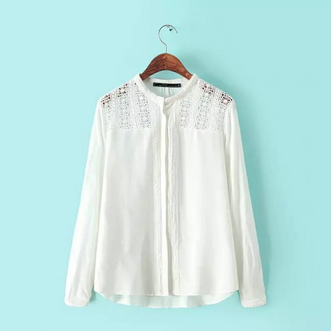 White crochet embroidered blouse