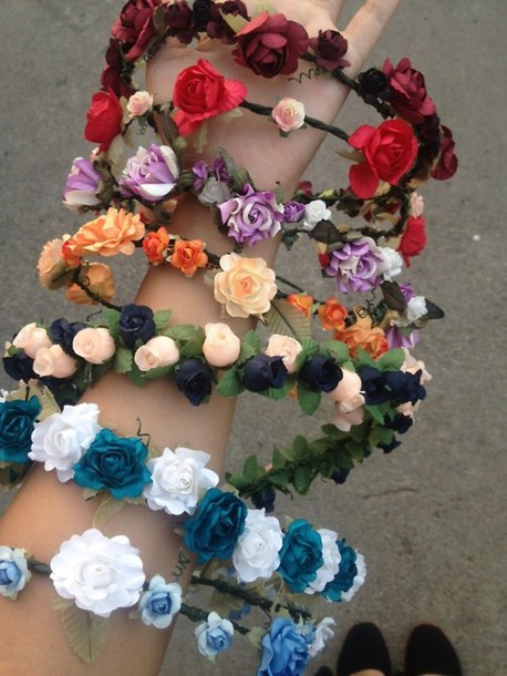 hat summer flowers hair accessory flower hairband flower crown headband jewels halos flower crown blue