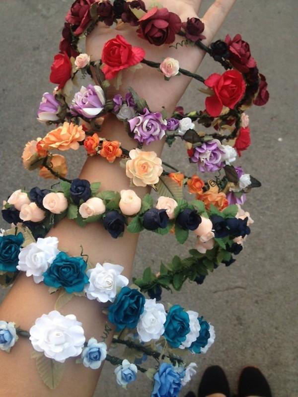 hat summer flowers hair accessory flower hairband flower crown headband jewels halos flower crown blue