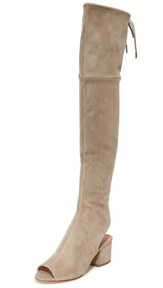 open over the knee boots beige shoes