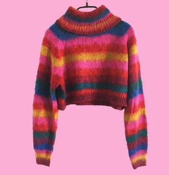 sweater red pink orange rainbow knit knitwear knitted top mohair jumper indie hipster arty tumblr pinterest top colorful boho preppy