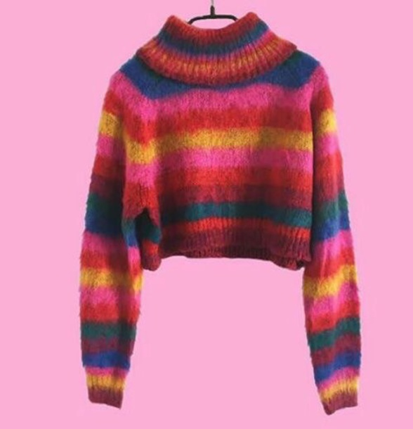 Sweater: red, pink, orange, rainbow, knit, knitwear, knitted top ...