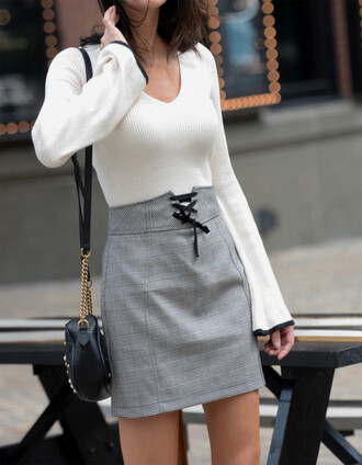 skirt plaid mini skirt mini mini skirt plaid top white top bell sleeves