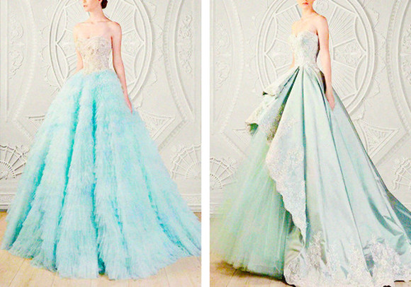 ball gown blue dress green dress strapless