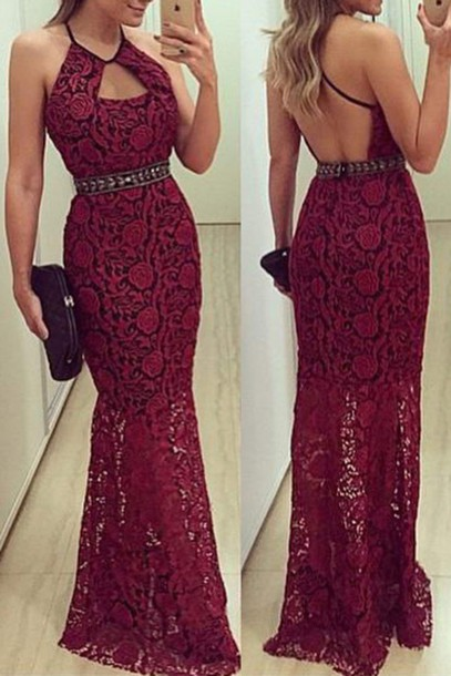 23ce5b7c0ac dress halter neck backless maxi dress evening dress prom dress lace red  dress red lace mermaid