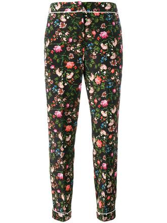 women floral black silk pants