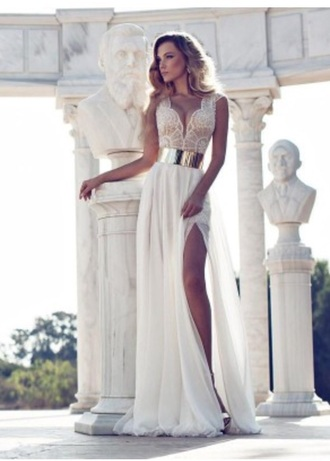 dress white dress lace dress gold belt prom dress fashion summer dress long prom dress v neck dress model blonde hair high heels style girly dress hot pants boho dress hipster dress hipster bikini