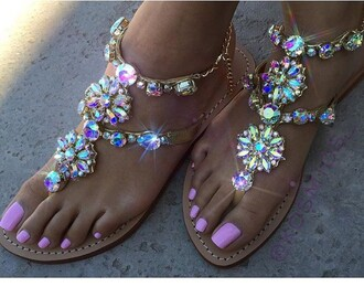 shoes glamour kills original rhinestones fashion sandals glitter bling summer pink strass girly flat sandals rhinestone sandals cute multicolor jewels colorful bag diamonds pretty size9 or 10 silver flat sandals colors stones sandals sparkle swarovski nude diamonds sandals gemstone jeweled sandals