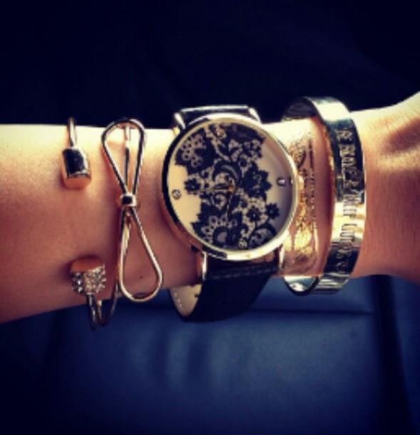 jewels lace jewelry watches for women watch black watch bracelets gold bracelet bow jewelry