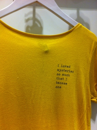 shirt tumblr t-shirt grunge mystery yellow black white quote on it