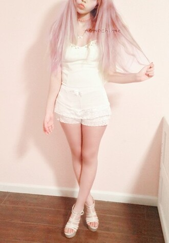 dress combinaison white dress white cute cute dress japanese shoes platform shoes necklace pink hair