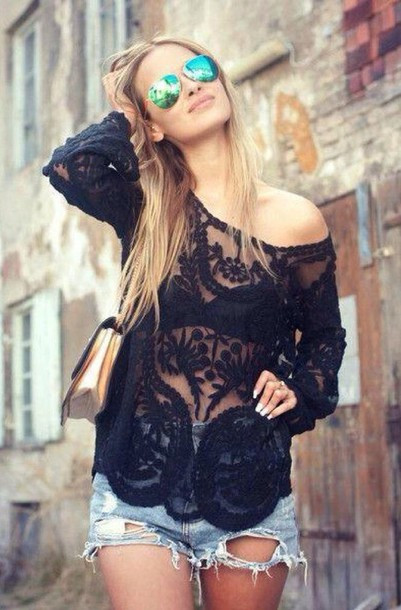 Long sleeve boho eyelet
