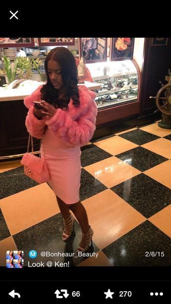 coat pink fur pink coat