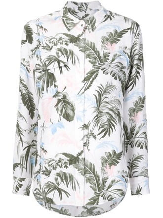 shirt women white print silk top