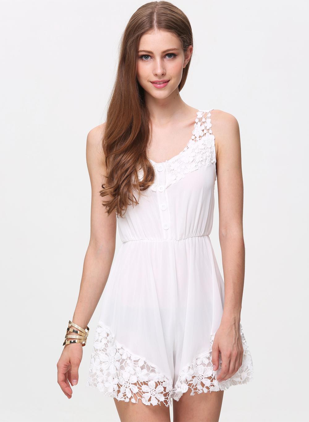White Sleeveless Floral Crochet Lace Jumpsuit - Sheinside.com