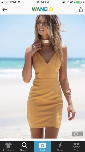 dress yellow yellow dress summer dress mini dress