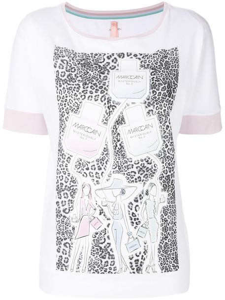Marc Cain - patterned sketch T-shirt - women - Cotton/Spandex/Elastane - 42, White, Cotton/Spandex/Elastane