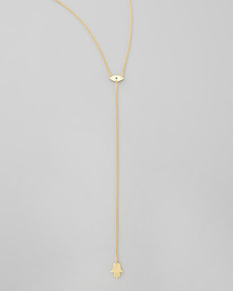Jennifer Zeuner Evil Eye & Hamsa Lariat Necklace - Bergdorf Goodman