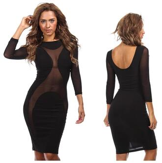 dress mesh dress long sleeves party clubwear sex and the city
