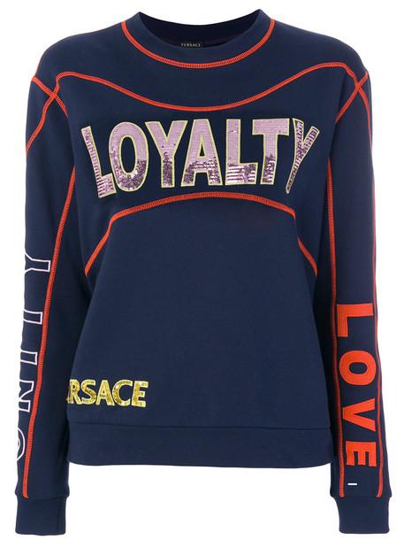 Versace - sequinned sweatshirt - women - Cotton - 40, Blue, Cotton