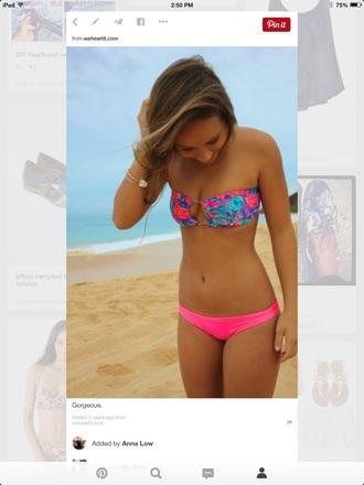 swimwear neon colorful bandeau