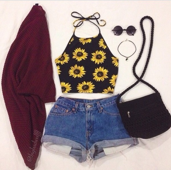 top sunflower crop tops black yellow summer outfits sunglasses High waisted shorts oversized sweater cardigan shorts bag