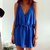 cut,nice,jumpsuit,beauiful,dress,trendy,fashion,cute dress,party dress,india love,india westbrooks,royal blue dress,blue dress,short dress,style,solid,blue,summer