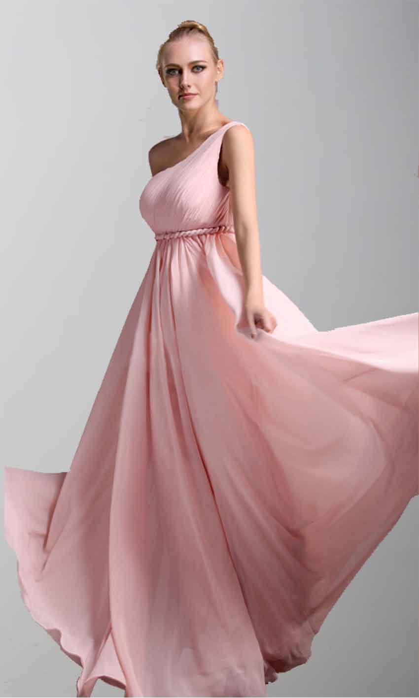 One Shoulder Braided Belt Long Bridesmaid Dress Pregnant KSP042 ...