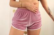 shorts,velvet,tattoo,baby pink