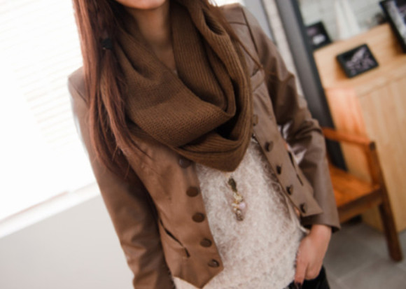jacket brown jacket clothes scarf