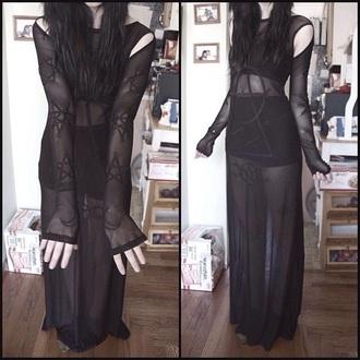 dress black goth sheer semi-sheer