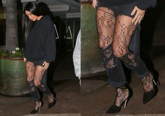 tights kim kardashian kardashians chanel lace cabaret floral black