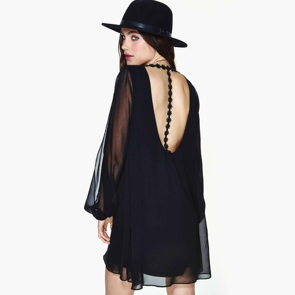black sheer dress long sleeves backless boho gypsy lace floral hippie