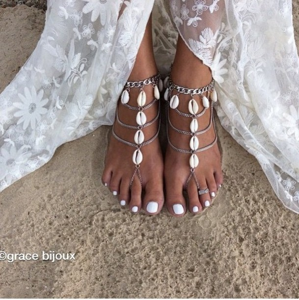 jewels anklet festival shell boho hippi anklet with toe ring festival jewelry hippie beach wedding boho jewelry