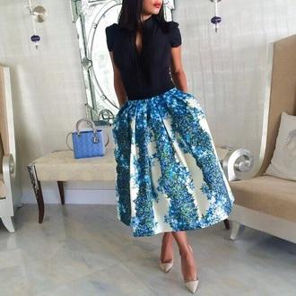 skirt blue cute floral
