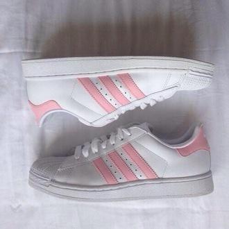shoes white light pink adidas adidas superstars superstar