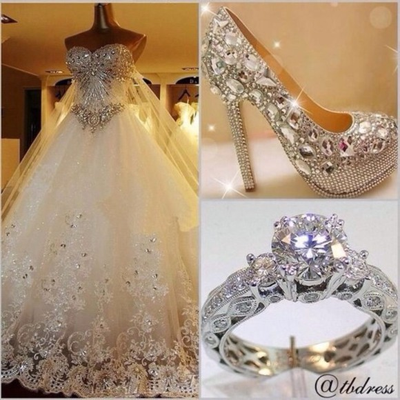 rhinestone wedding dress white