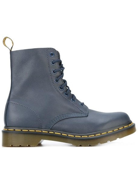 women boots leather blue shoes