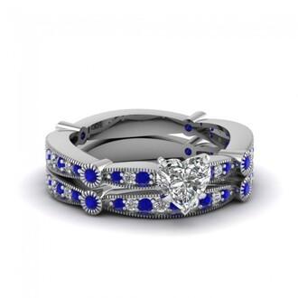 jewels fine ring set milgrain edge ring heart shaped diamond ring evolees.com
