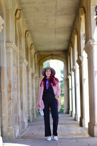 preppy fashionist blogger hat coat blouse scarf shoes bag fuzzy coat pink coat felt hat spring outfits