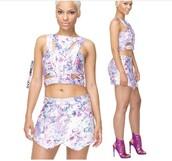 shorts,short set,purple shorts,floral,summer outfits,2 pc set,lilac,lavender