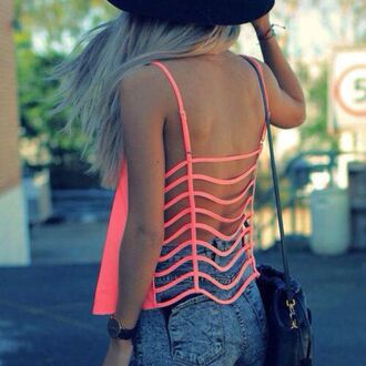 top crop tops pink fluo fluo pink open back open back crop top open back top cute top cute hipster grunge urban girly